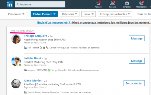 Comment connaitre le nombre exact de contacts d'un profil Linkedin ? 3
