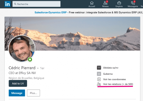 Comment connaitre le nombre exact de contacts d'un profil Linkedin ? 2