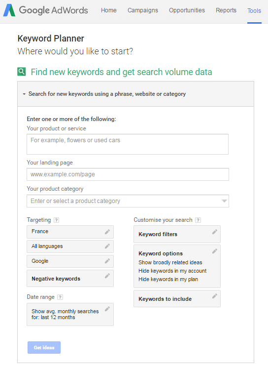 google adwords planner