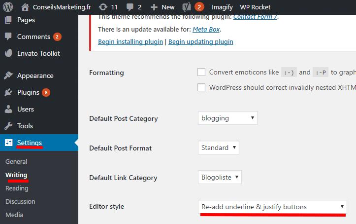 Le bouton souligné et justifié a disparu dans Wordpress 4.7... comment le remettre ? 3