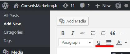 Le bouton souligné et justifié a disparu dans Wordpress 4.7... comment le remettre ? 1