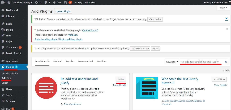 Le bouton souligné et justifié a disparu dans Wordpress 4.7... comment le remettre ? 2
