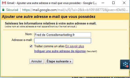 Comment envoyer et recevoir des emails depuis Gmail avec une autre adresse email ? 4