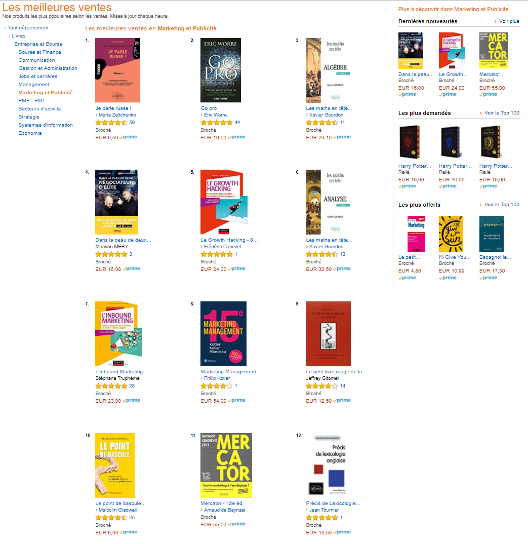"Mon livre ""Le Growth Hacking"" dans le Top 5 des livres Marketing en France ! 1"