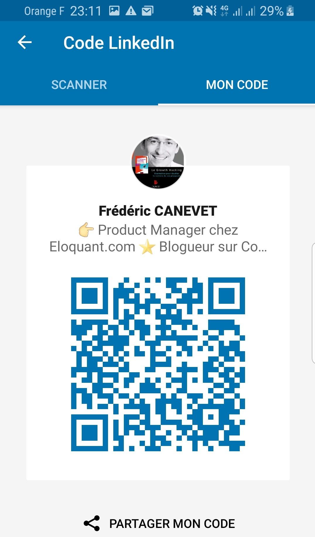 Utilisez l'App Linkedin et le QR code Linkedin pour scanner vos contacts lors d'un salon, d'une soirée networking... 1
