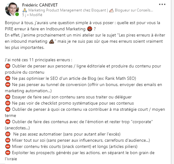 5 astuces simples de Social Selling sur Linkedin - Interview Benoit Lacoste 4