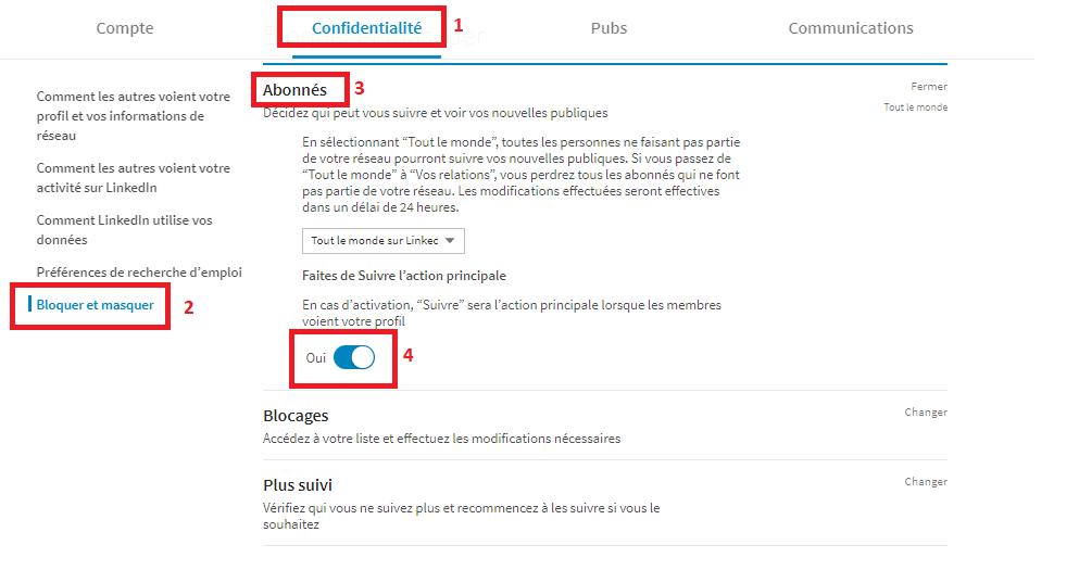 """changer le bouton par défaut et mettre """"Suivre"""" linkedin"""