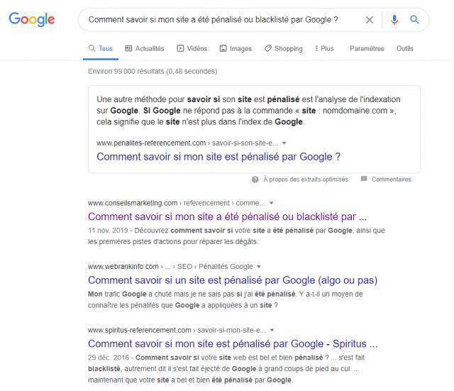 Comment savoir si mon site a été pénalisé ou blacklisté par Google? 7