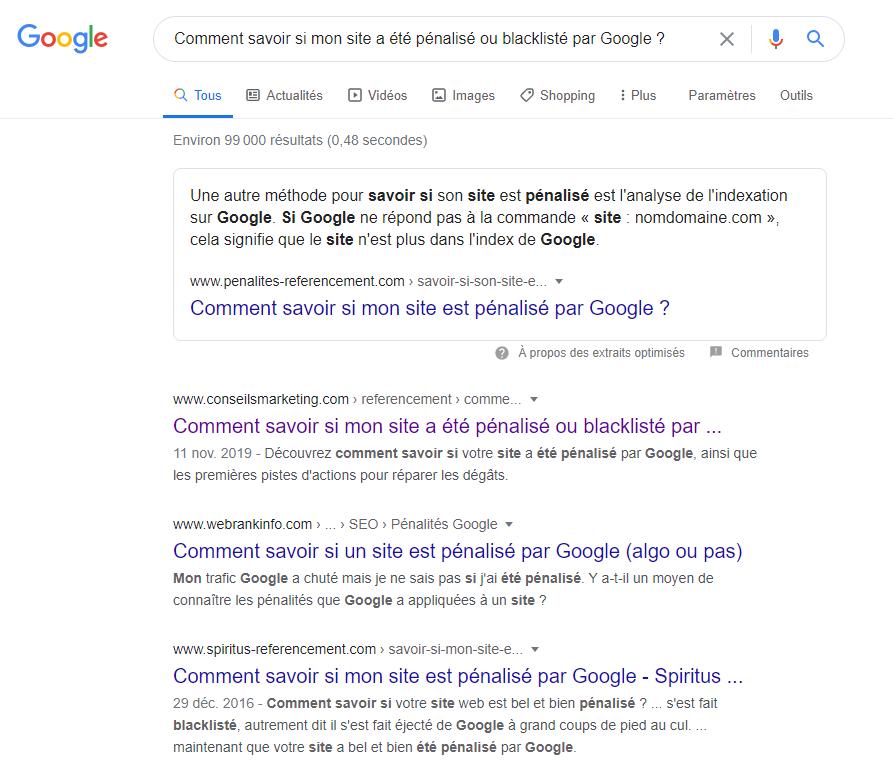 Comment savoir si mon site a été pénalisé ou blacklisté par Google? 4