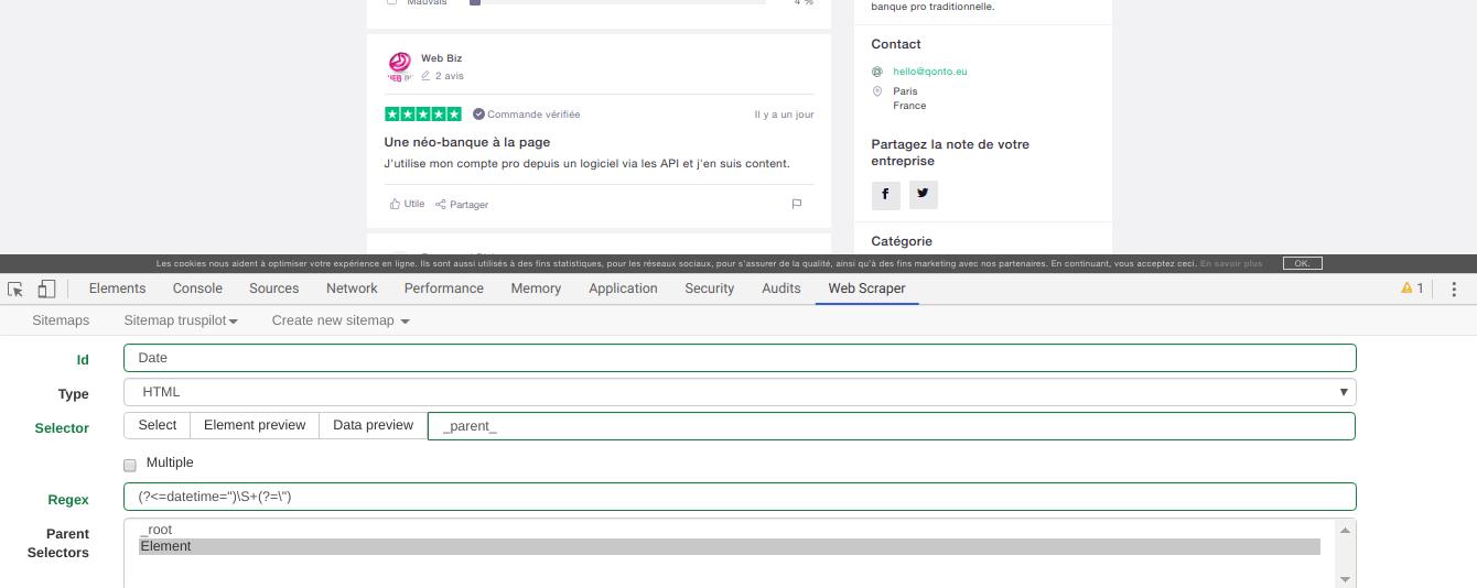 Comment faire du Web Scraping : cas pratique avec la récupération des avis clients sur Trustpilot avec webscraper.io 69