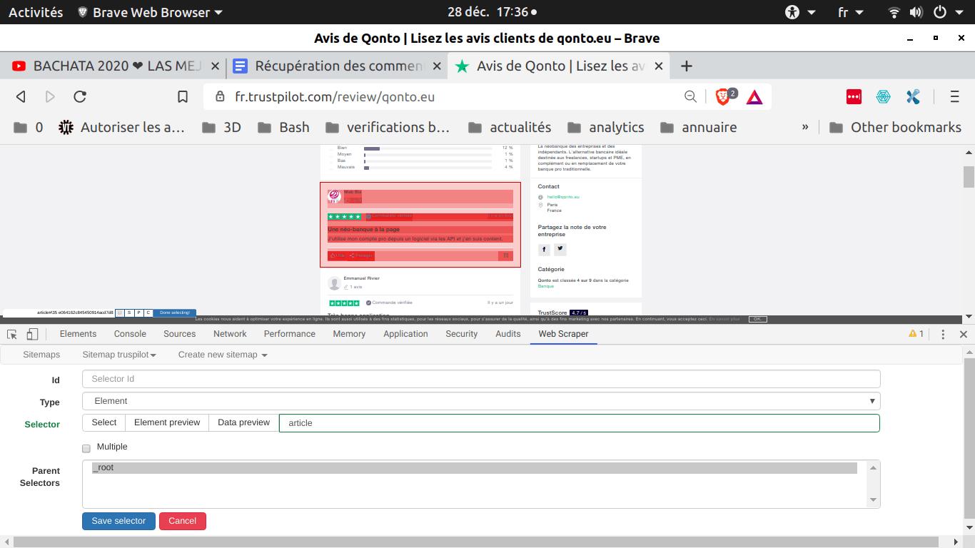 Comment faire du Web Scraping : cas pratique avec la récupération des avis clients sur Trustpilot avec webscraper.io 56