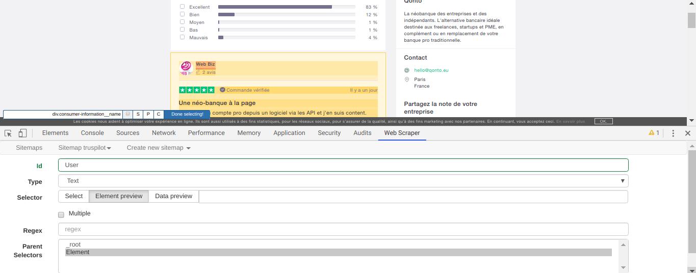 Comment faire du Web Scraping : cas pratique avec la récupération des avis clients sur Trustpilot avec webscraper.io 62