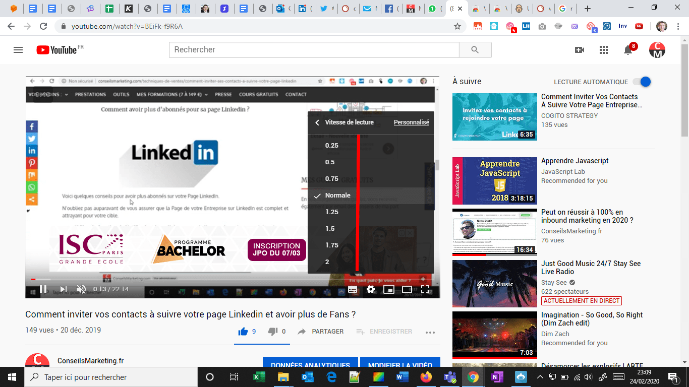 Comment modifier la vitesse de lecture sur Youtube... Jusqu'à 16 fois plus rapide ! 3