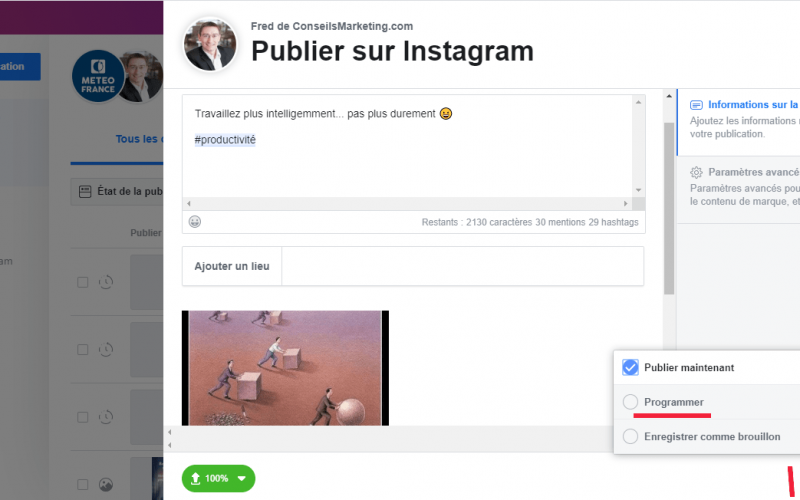 Tuto : Programmer une publication Instagram, Facebook, Twitter, Linkedin, Pinterest... en quelques secondes ! 4