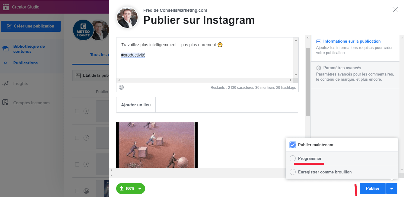 Tuto : Programmer une publication Instagram, Facebook, Twitter, Linkedin, Pinterest... en quelques secondes ! 1