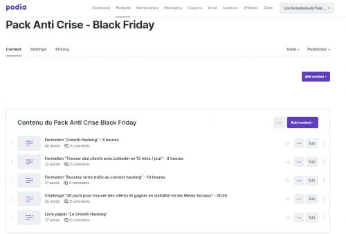 Réalisez un Pack Promo Black Friday pour vos formations vidéo - Tuto Podia 4