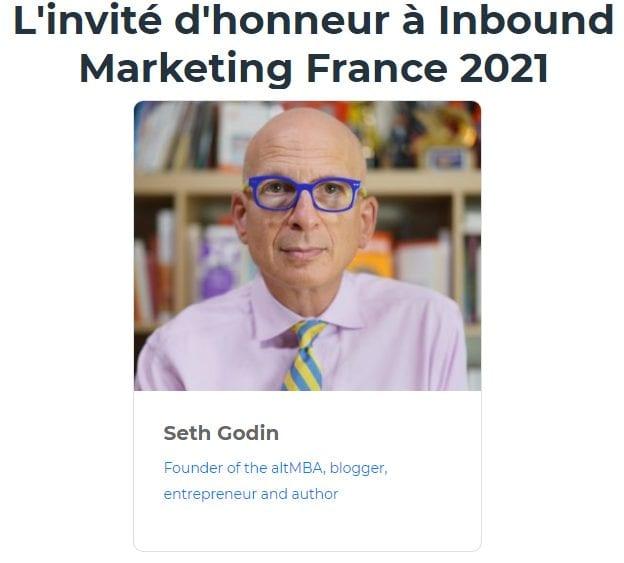RDV le 22 Juin avec Seth Godin lors de l'Inbound Marketing France 2021 + ma conférence Social Selling & Growth Hacking 5