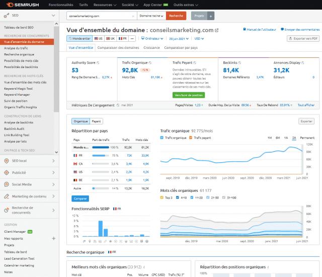 Quel est le meilleur outil gratuit pour analyser le référencement et le trafic d'un site web ? Semrush ou SimilarWeb ? 9